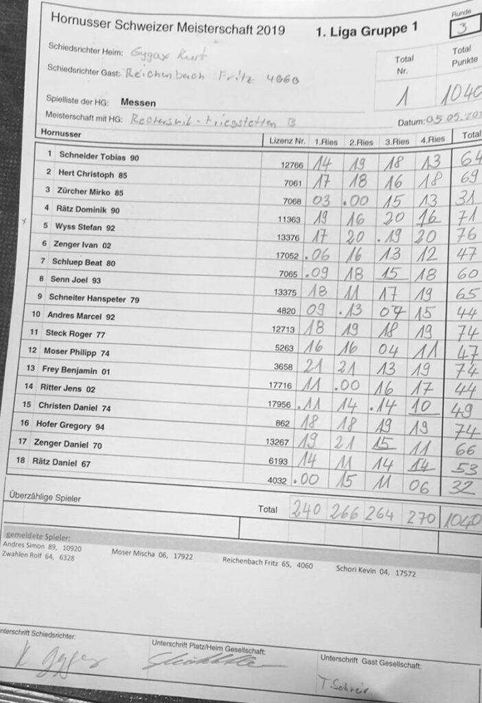 Liste Messen/Recherswil-Kriegstetten B 05.05.2019